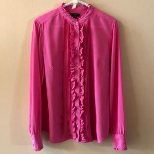 J. Crew Silk Ruffle Button Down size 6